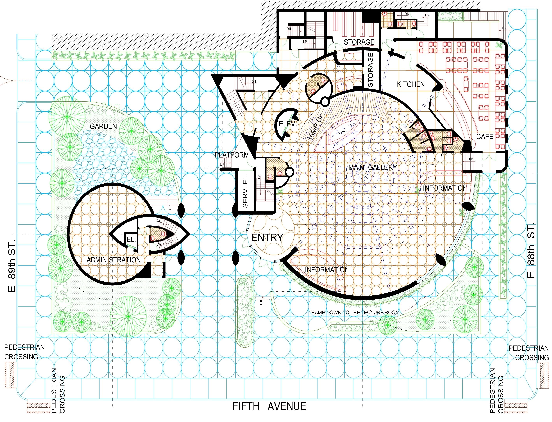 Ground floor guggenheim museum in new york architect frank lloyd wright 1959 details arrangement in autocad 2009